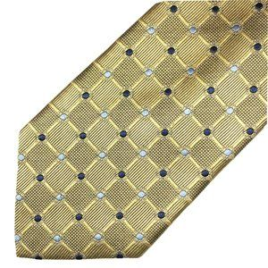Jos. A Bank Silk Tie Geometric Pattern Gold Blue